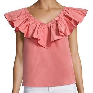 Rebecca Taylor Pink Ruffle Off The Shoulder Top